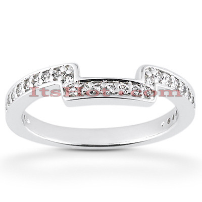 Thin 14K Designer Diamond Engagement Ring Band 0.23ct Main Image