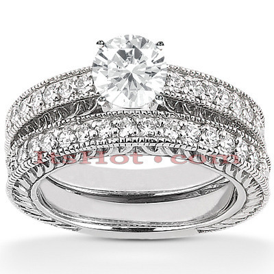 14K Designer Diamond Engagement Ring Set 0.85ct Main Image