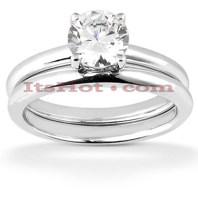 14K Designer Diamond Engagement Ring Set 1.12ct