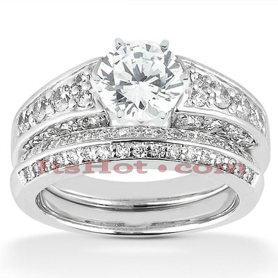 14K Designer Diamond Engagement Ring Set 1.66ct Main Image