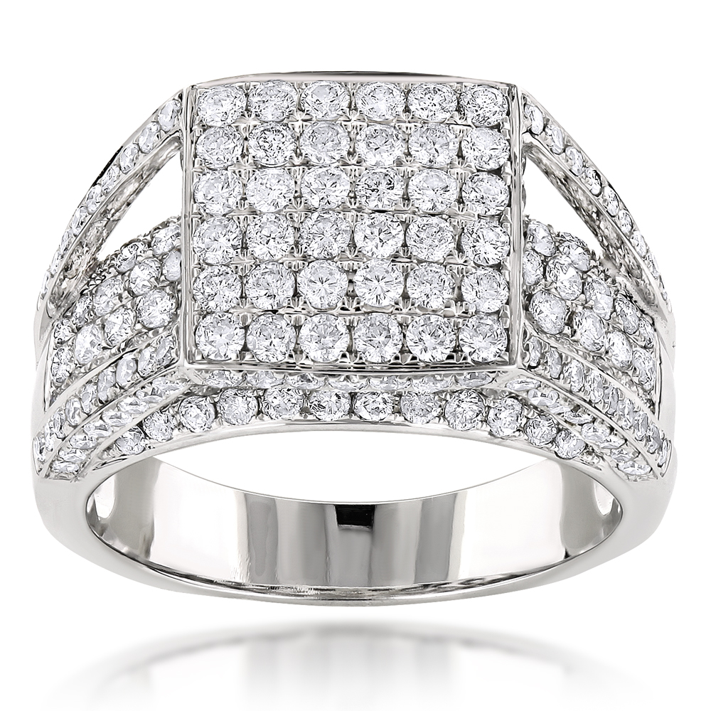 14K Designer Diamond Ring 2.79ct White Image