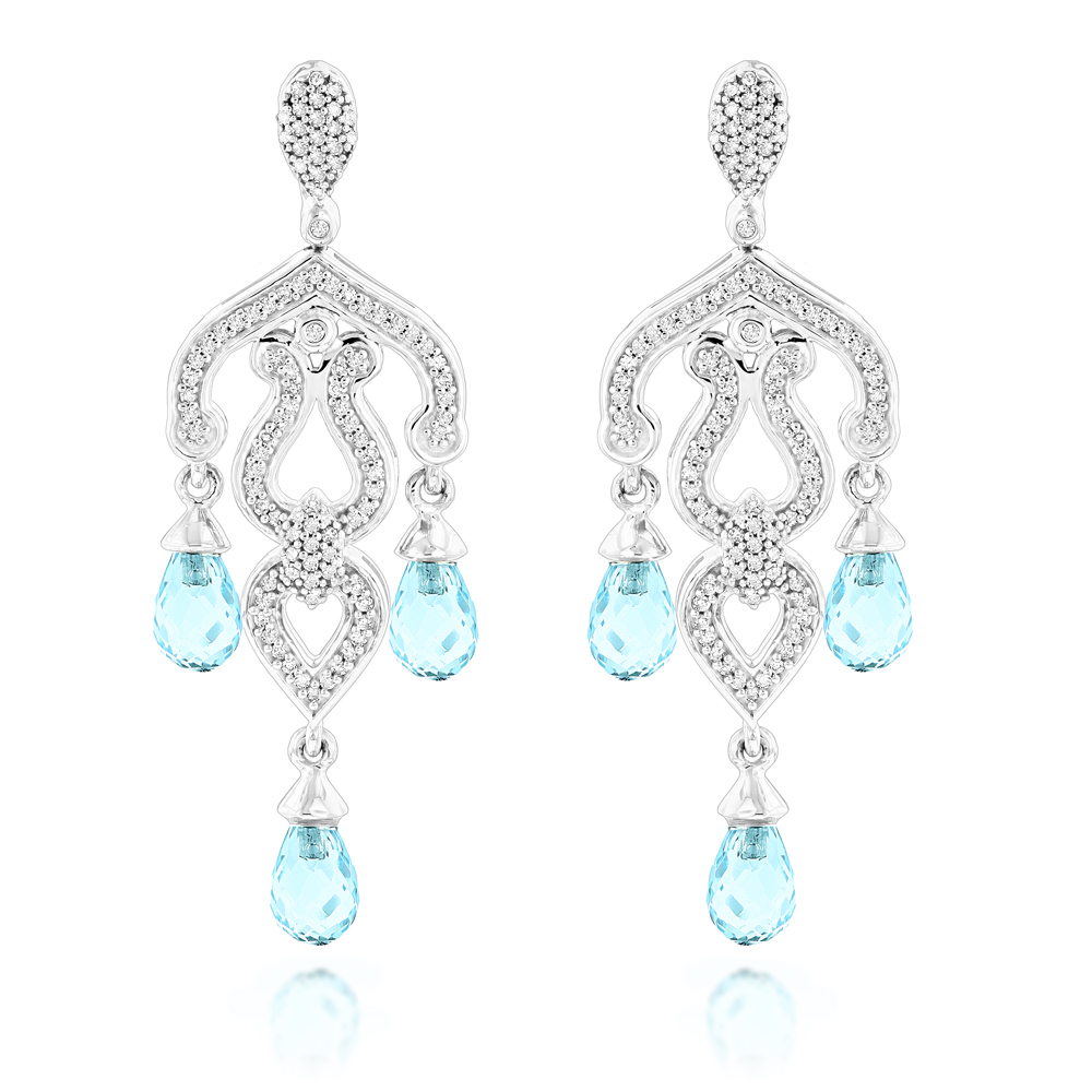 14K Gold Diamond Chandelier Earrings Blue Topaz 0.37ct White Image