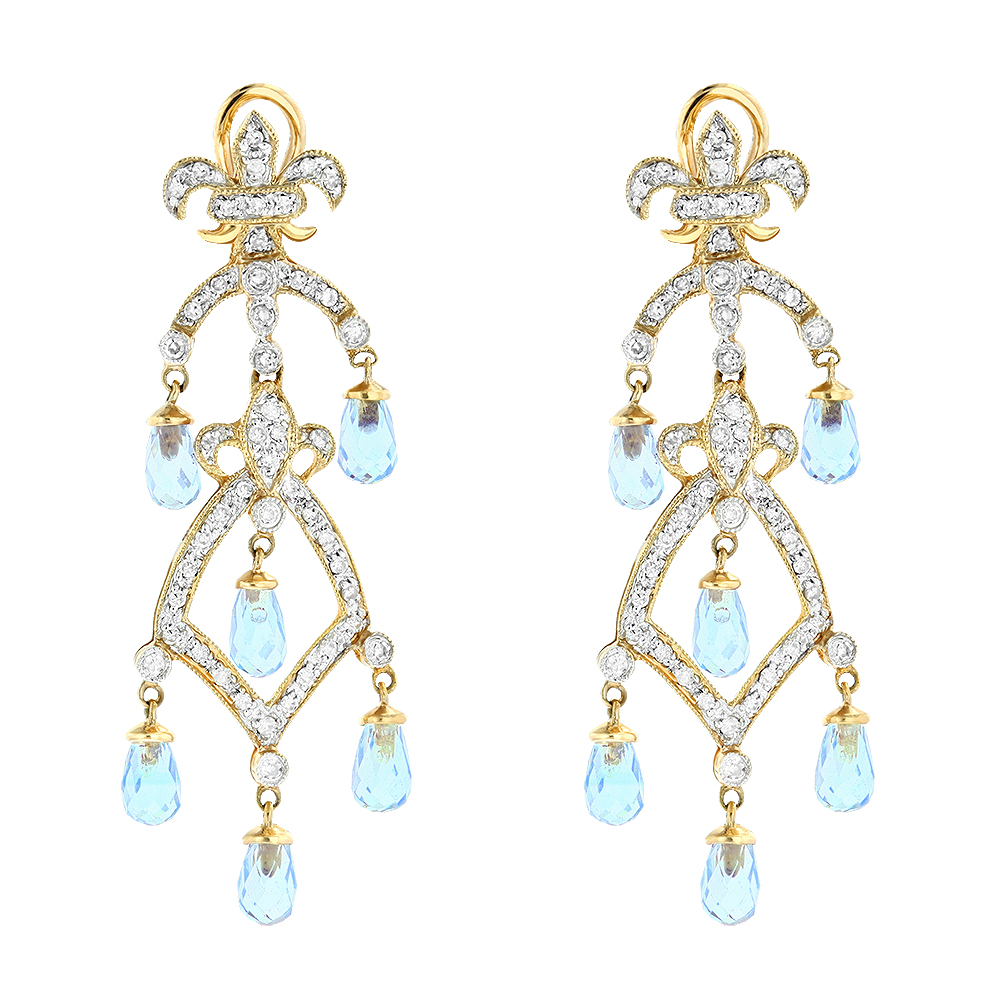 14K Diamond Chandelier Earrings Blue Topaz 0.55ct Yellow Image