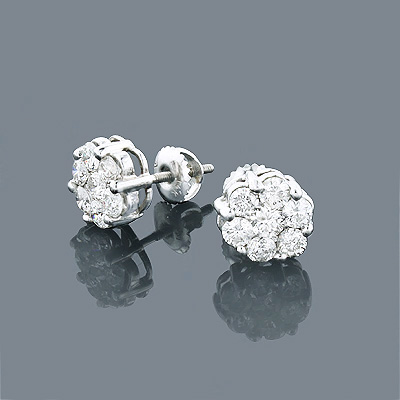 14K Diamond Cluster Earrings 1.53ct Main Image