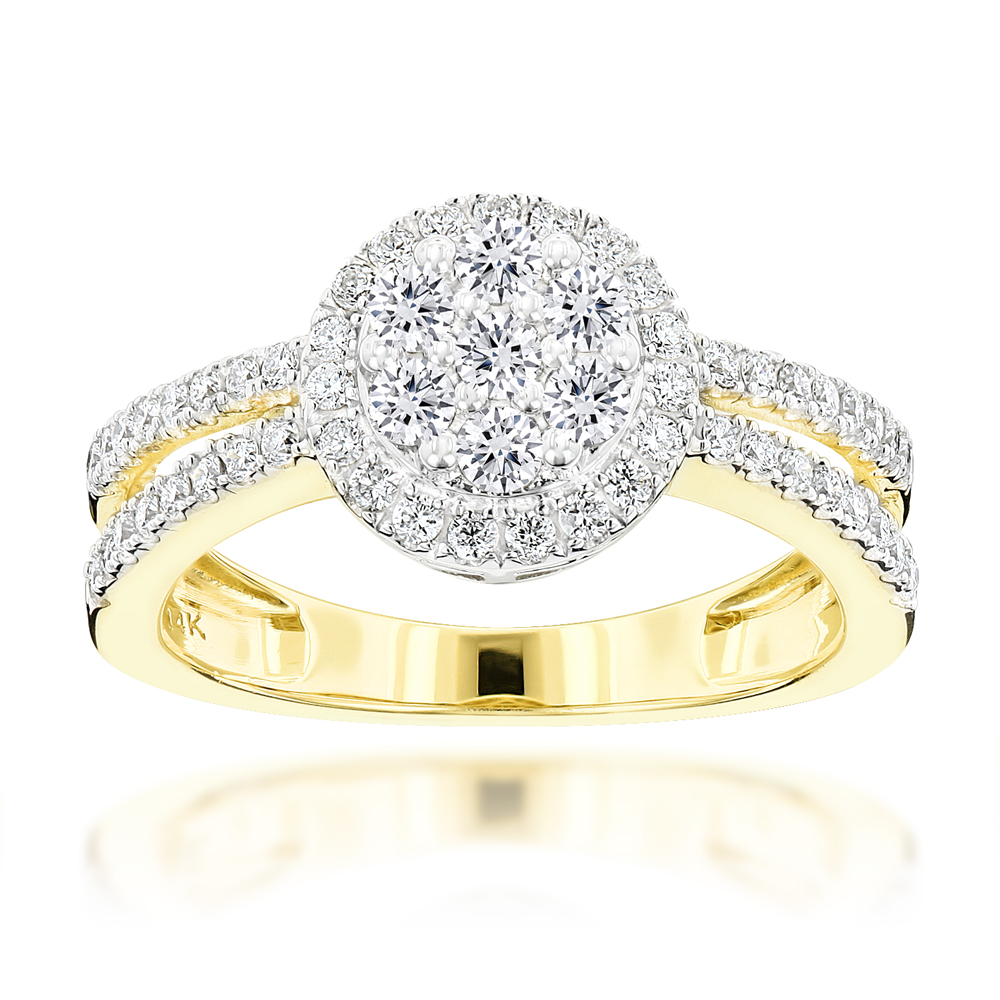 14K Gold Diamond Flower Cluster Ring for Women 1 carat