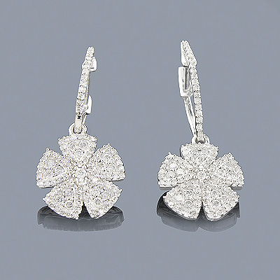 14K White Gold Diamond Flower Earrings for Women 0.87ct Main Image