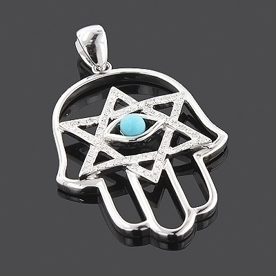 14K Diamond Hamsa Star of David Pendant 0.28ct