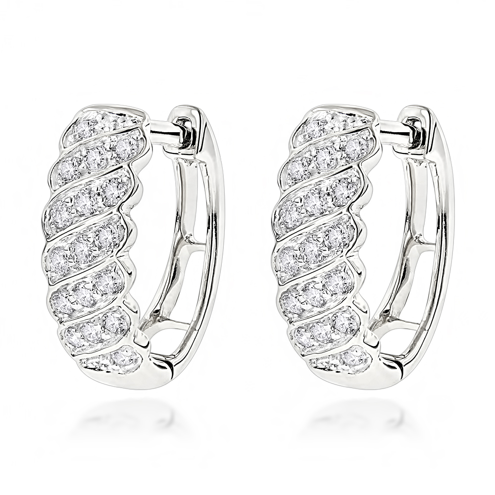 14K Gold Diamond Hoop Huggie Earrings for Women 0.65ct