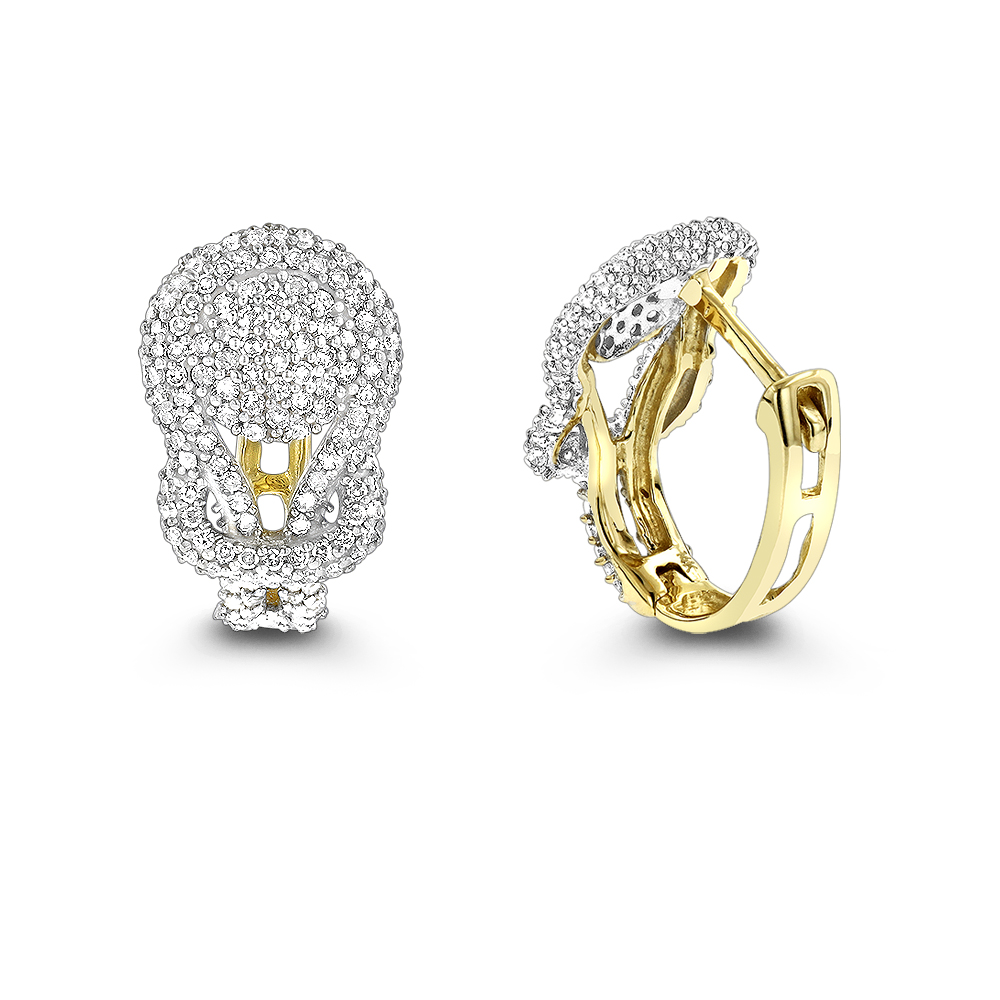 14K Gold Diamond Love Knot Hoop Earrings 0.75ct Yellow Image