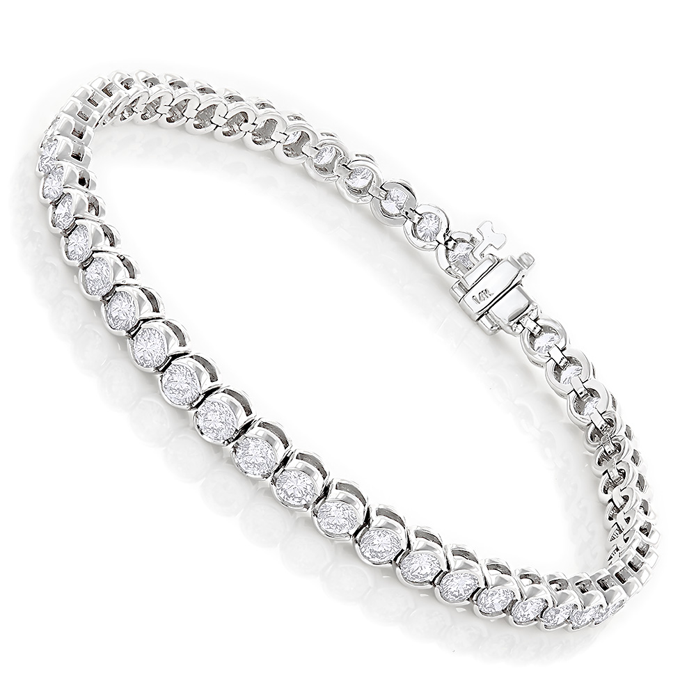 Luxurman 14K Gold Round Diamond Tennis Bracelet Half Bezel Setting 6ct White Image