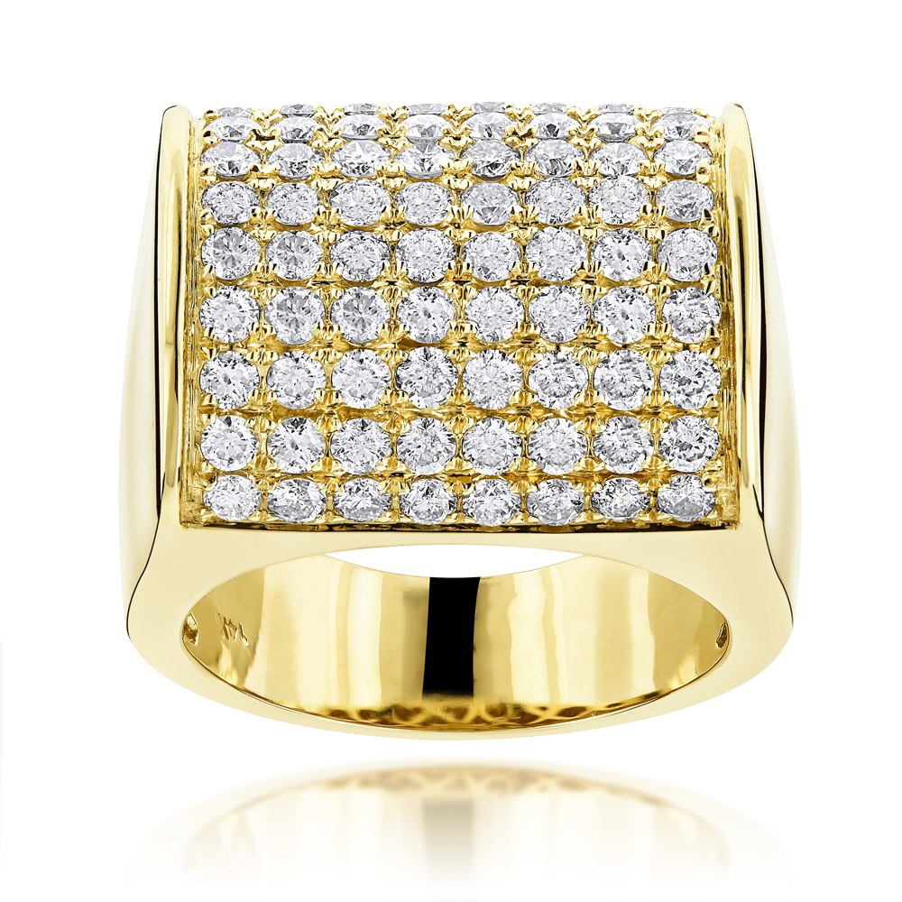 14K Gold Expensive Mens Diamond Ring 4.05ct Yellow Image