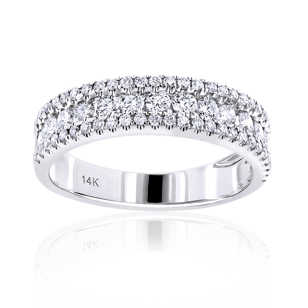 14K Gold 1 carat Round Diamond Wedding Band for Women by Luxurman White Image