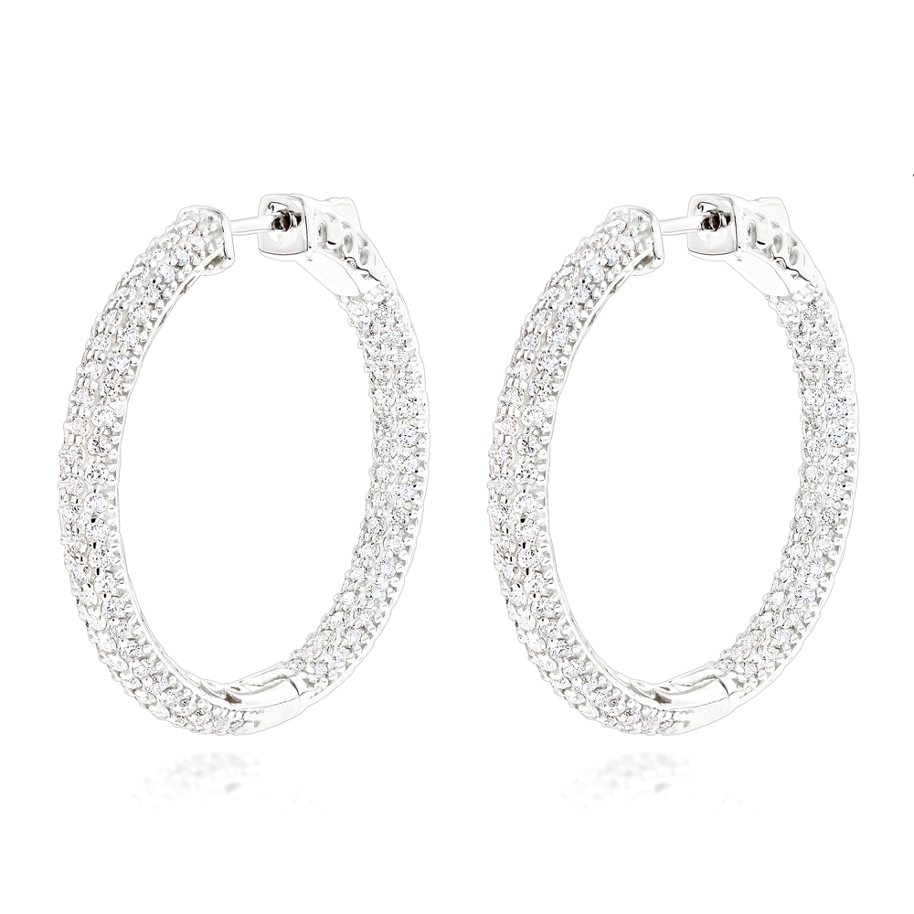 14K Gold 1 3/8 inch Diamond Hoop Earrings Inside Out 4.40ct White Image