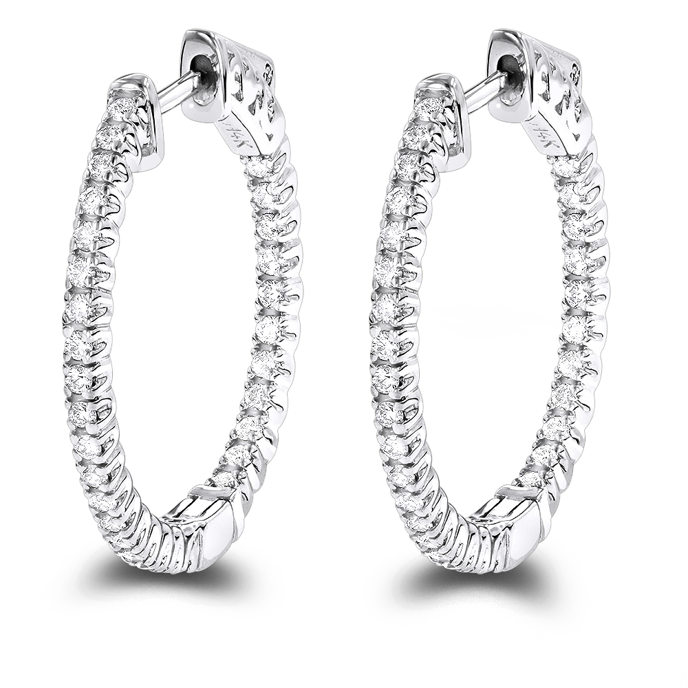 14K Gold 1 inch Inside Out Diamond Hoop Earrings 0.6ct by Luxurman