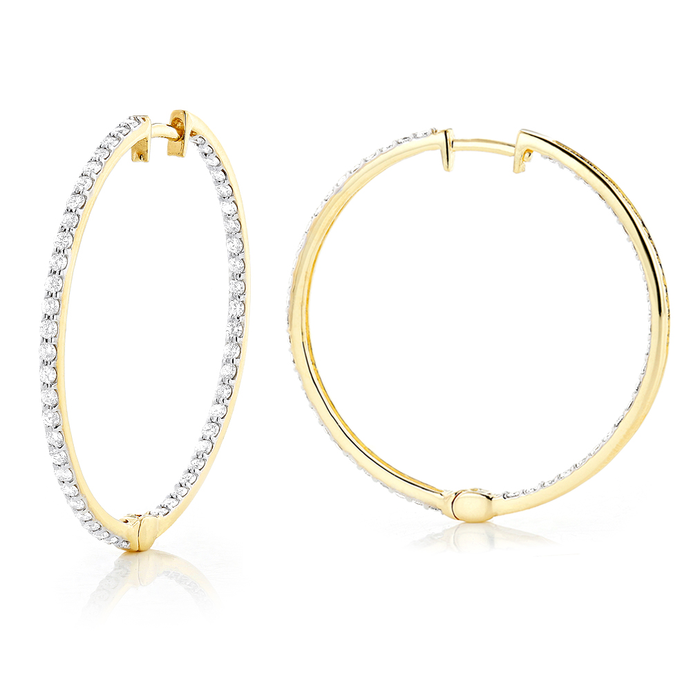 14K Gold 1 Row Inside Out Diamond Hoop Earrings 3.15ct Yellow Image