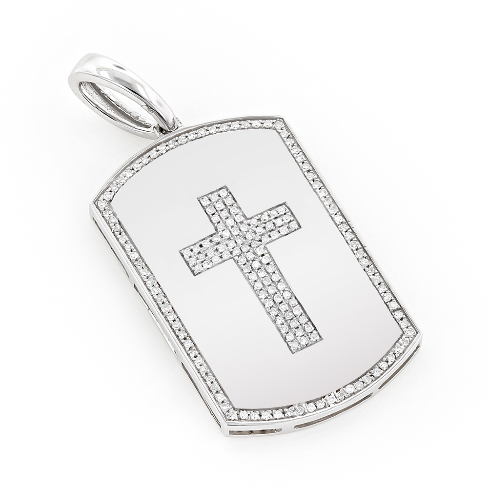 14K Gold 0.35ct White Diamond Cross Dog Tag Pendant White Image
