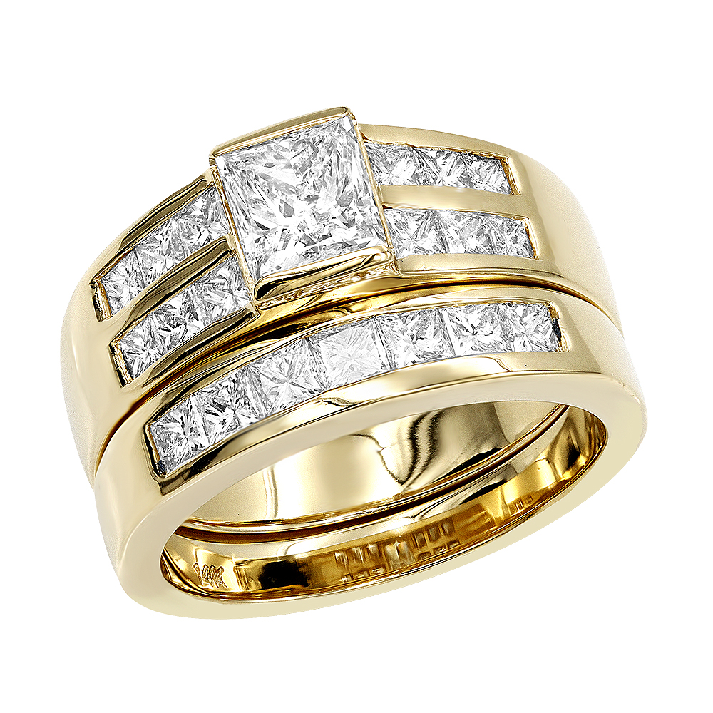 14K Gold 2 Carat Princess Cut Diamond Engagement Ring & Wedding Band Set Yellow Image