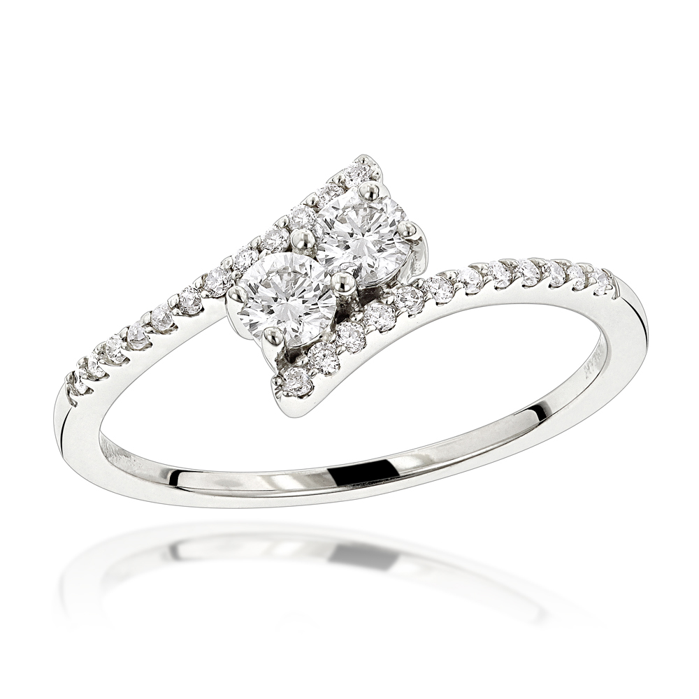 2e5f9aa291 14K Gold 2 Stone Diamond Ladies Ring 0.4ct Love and Friendship Design White  Image