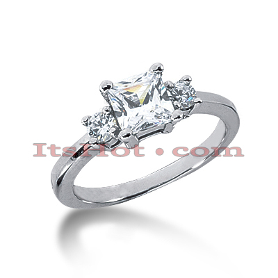 Ultra Thin 14K Gold 3 Stone Diamond Engagement Ring 0.60ct Main Image