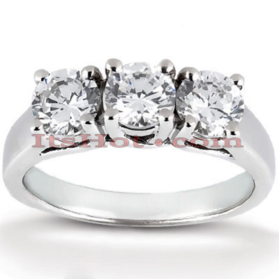 Thin 14K Gold 3 Stone Diamond Engagement Ring 0.99ct Main Image