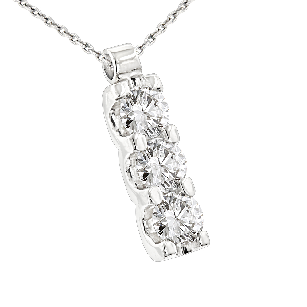 14k Gold 3 Stone Diamond Journey Necklace 1.2ct Ladies Pendant with Chain White Image