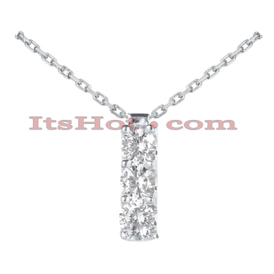 14k Gold 3 Stone Diamond Journey Pendant 0.30ct Main Image