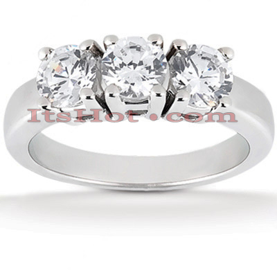 Thin 14K Gold 3 Stone Diamond Ring 0.75ct Main Image