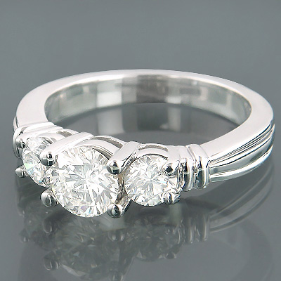 14K Gold 3 Stone Round Diamond Engagement Ring 1.50ct Main Image