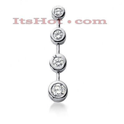 14K Gold 4 Stone Diamond Journey Pendant 0.63ct Main Image
