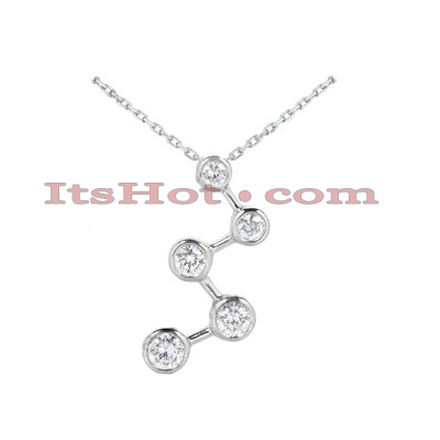 14k Gold 5 Stone Diamond Journey Necklace 1.50ct Main Image