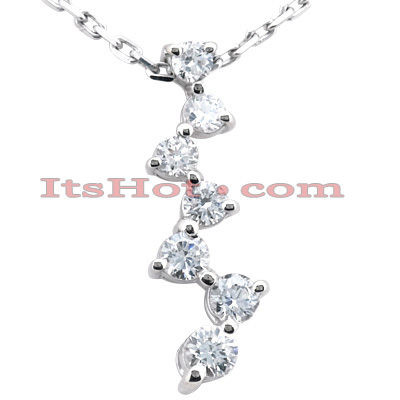 14k Gold 5 Stone Diamond Journey Necklace 1ct Main Image