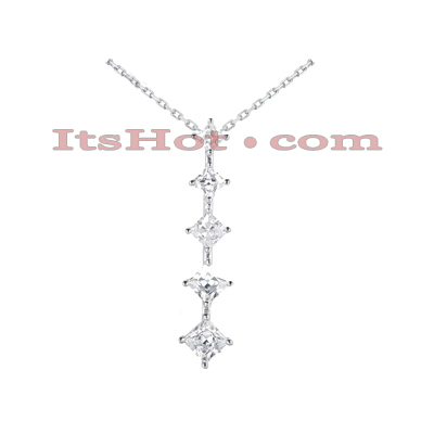 14k Gold 5 Stone Diamond Journey Necklace 3.9ct Main Image