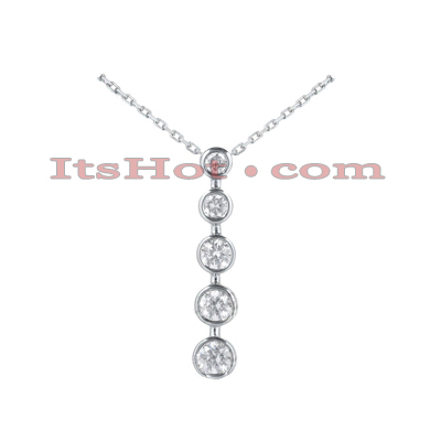 14k Gold 5 Stone Diamond Journey Pendant 0.50ct Main Image