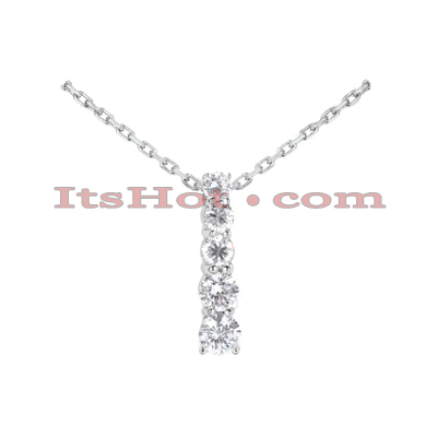 14k Gold Designer 5 Stone Round Cut Diamond Journey Pendant 0.50ct Main Image
