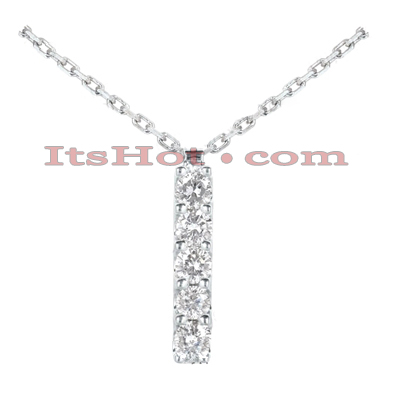 14K Gold Designer 5 Stone Diamond Journey Pendant 0.75ct Main Image