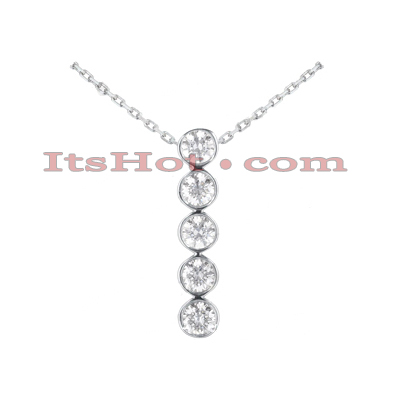14K Gold Unique 5 Stone Diamond Journey Pendant 0.75ct Main Image