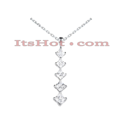 14k Gold 5 Stone Diamond Journey Pendant for Women 1.08ct Main Image