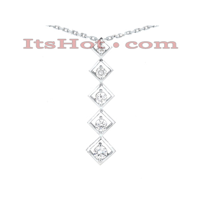 14k Gold Designer 5 Stone Diamond Journey Pendant 1.25ct Main Image