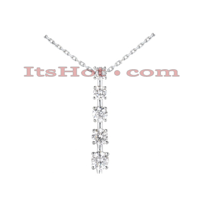 14k Gold Unique 5 Stone Diamond Journey Pendant 1.50ct Main Image