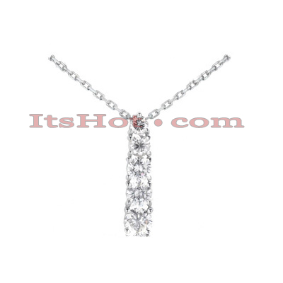 14k Gold 5 Stone Round Diamond Journey Pendant 1.50ct Main Image