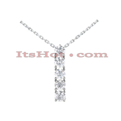 14k Gold 5 Stone Shared Prong Set Diamond Journey Pendant 1ct Main Image
