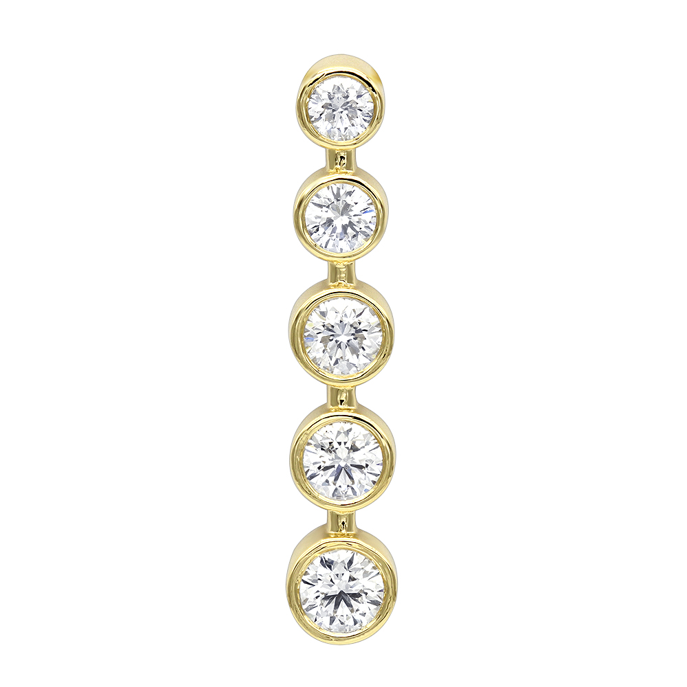 14k Gold 5 Stone Bezel Set Diamond Journey Pendant 2.50ct Yellow Image