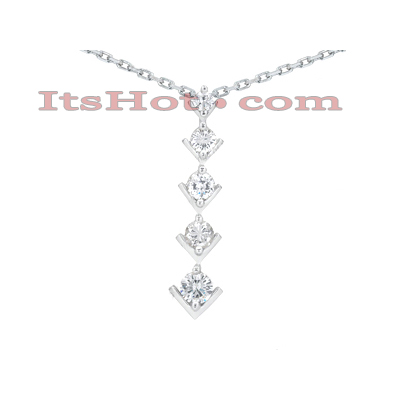 14k Gold 5 Stone Round Diamond Journey Pendant 2ct Main Image