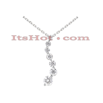 14K Gold 7 Stone Diamond Journey Necklace 3ct Main Image