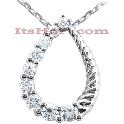 14k Gold 9 Stone Diamond Journey Necklace 0.75ct Main Image