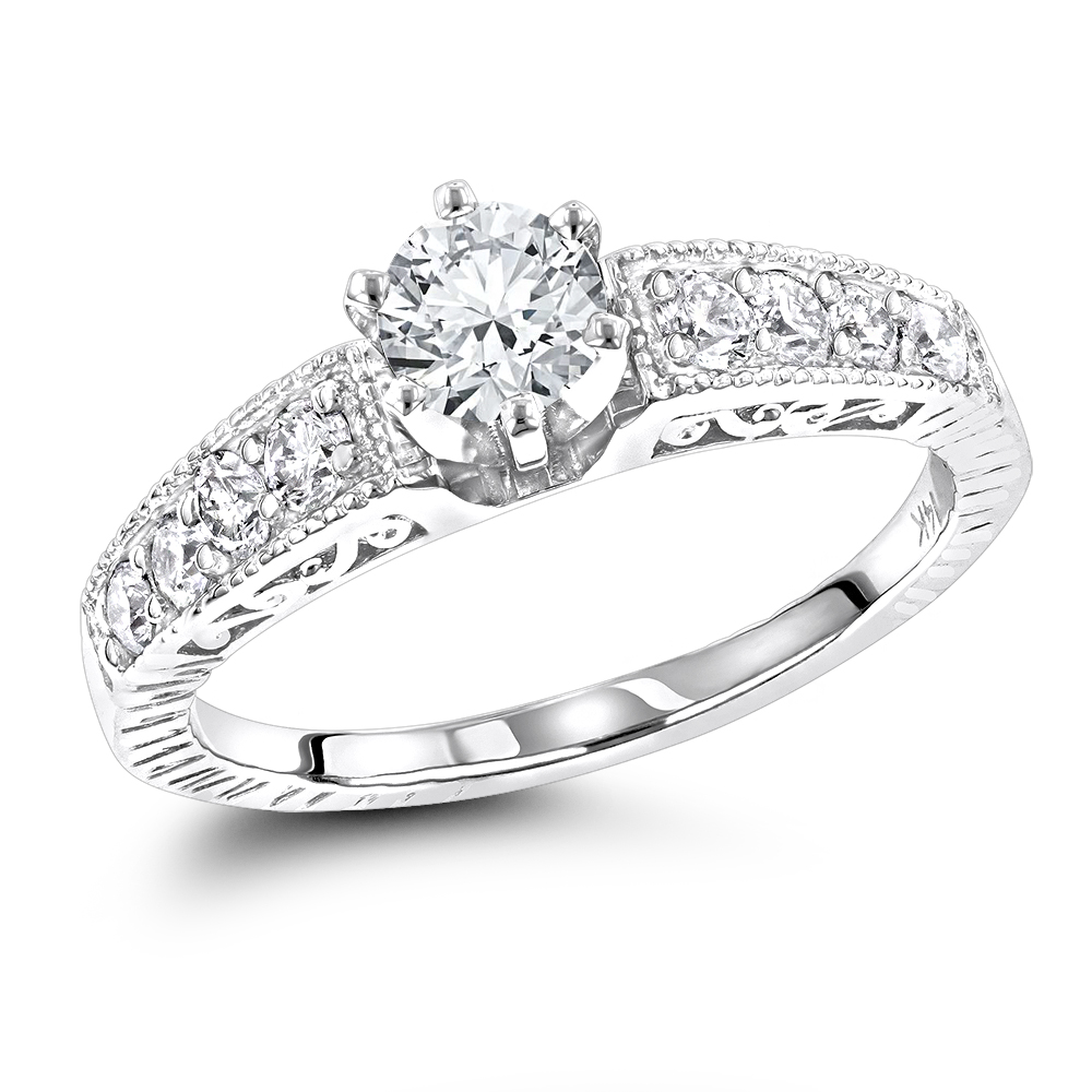 14K Gold Antique Style Diamond Engagement Ring 0.90ct wh