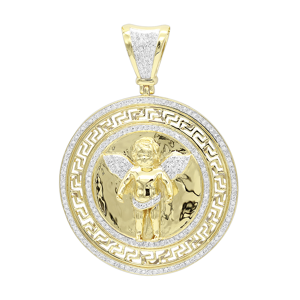 14K Gold Baby Angel Diamond Medallion Pendant for Men 0.95ct by Luxurman Yellow Image