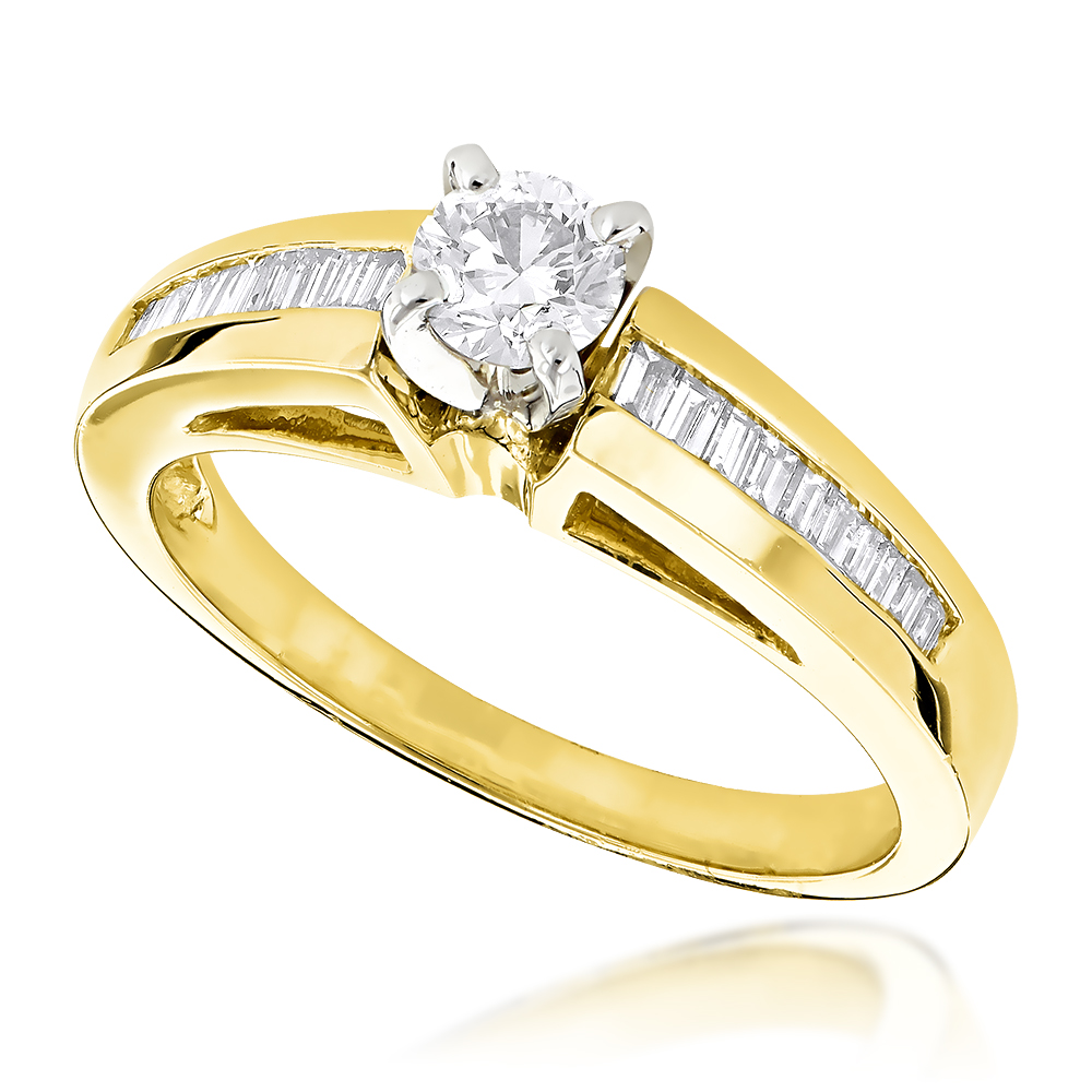 14K Gold Baguette and Round Diamond Engagement Ring 0.6ct Yellow Image