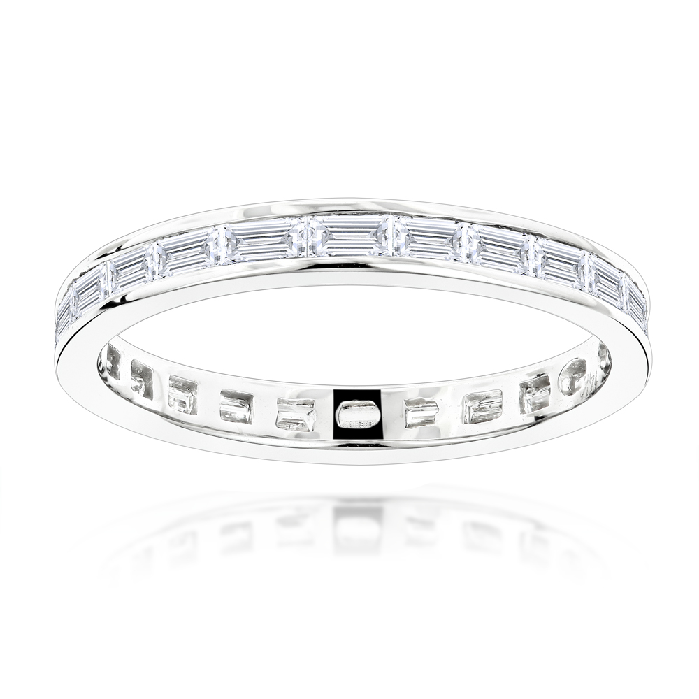 Thin 14K Gold Baguette Diamond Eternity Ring 1.60ct White Image