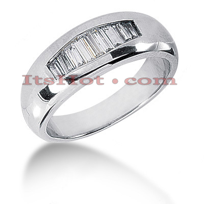 14K Gold Baguette Diamond Men's Wedding Ring 0.65ct Main Image